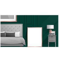 Mock up poster frame in bedroom vector