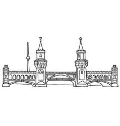 Oberbaum bridge in berlin vector