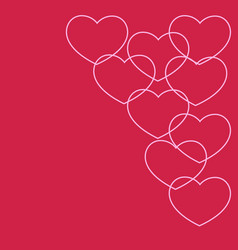 outlined pink hearts on crimson background vector image