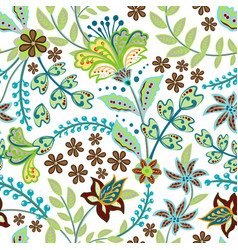 retro wild flower pattern in the many kind vector image