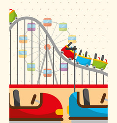 Roller coaster ferris wheel and bumper cars vector