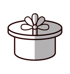 Round gift box ribbon festive shadow vector