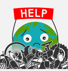 Save planet concept littering planet with vector