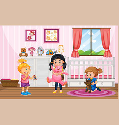 Scene with many kids in pink room vector
