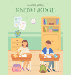 school knowledge pupils writing in notebook study vector image