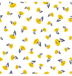 seamless pattern cute small yellow flowers vector image