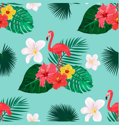 seamless pattern with flamingo bird tropical vector image