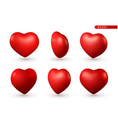 set 3d red heart love symbol isolated on white vector image