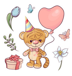 set a little tiger with a balloon hand drawing vector image