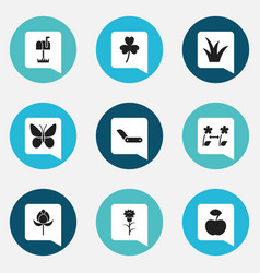 Set of 9 editable gardening icons includes vector