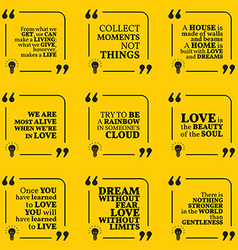 Set of motivational quotes about home moments love vector
