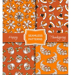Set of seamless orange Thanksgiving patterns vector