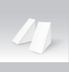Set of white blank cardboard triangle take vector
