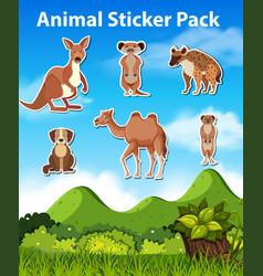 set wild animal sticker vector image