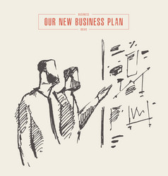 sketch process business planning hand drawn vector image
