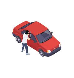 Smashing car door composition vector