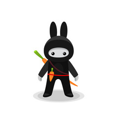 standing cute bunny ninja with carrot isolated vector image