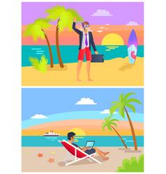summer job and seaside set vector image
