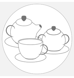 Tea set Drawing vector image vector image