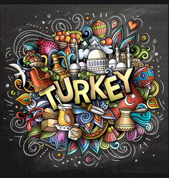 Turkey hand drawn cartoon doodles vector