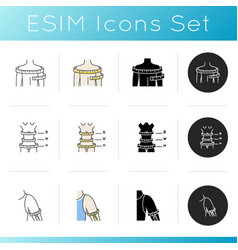 Upper body sizing icons set linear black and rgb vector