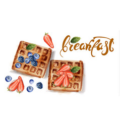Waffles watercolor strawberry and blueberry vector