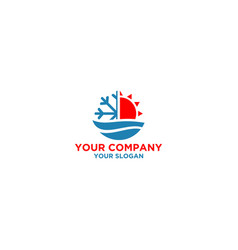 Water heating and air conditioner logo design vect vector