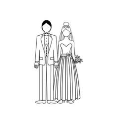 wedding couple outline vector image