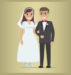Wedding day web banner newlyweds couple design vector