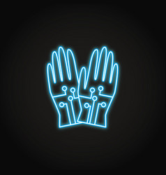 wired gloves icon in glowing neon style vector image
