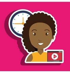 Woman cartoon video record clock vector