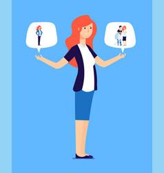Woman choosing between family and career vector
