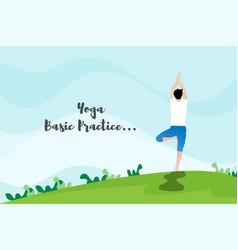 Yoga practice background design in flat style vector