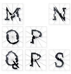 Broken Font m to s vector image vector image
