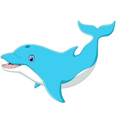 Cute cartoon dolphin vector image vector image