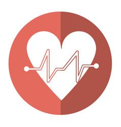 heart beat pulse cardiac medical shadow vector image vector image