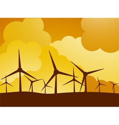 Wind turbine farm vector
