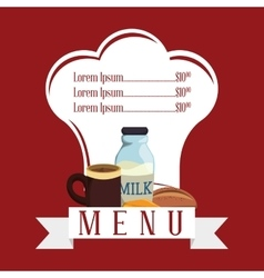 breakfast menu shape restaurant milk coffee cheese vector image