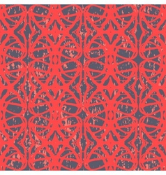Hand drawn vintage pattern with red lines vector image