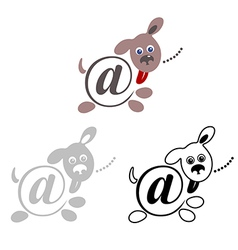 international sign email animals dog vector image