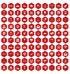 100 arrow icons hexagon red vector image vector image
