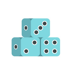 blue dice cubes icon flat style vector image vector image