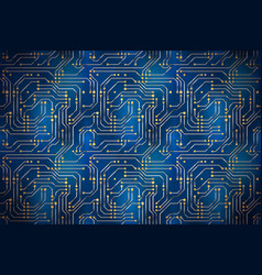 complicated computer microchip with golden vector image vector image