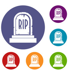Gravestone with rip text icons set vector