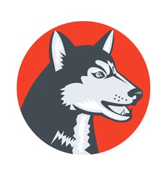 Siberian Husky Dog Head Circle Retro vector image