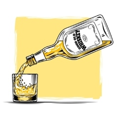 whiskey and glass vector image vector image