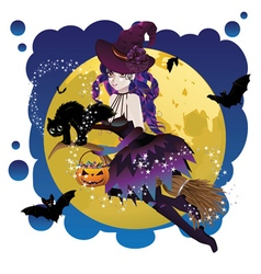 Witch and Full Moon6 vector image