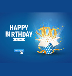 100 th years anniversary banner with open burst vector image