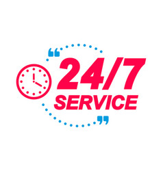 24 7 service labels speech bubbles with clock vector