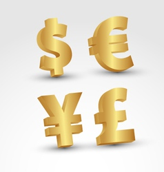 3D Golden currency signs vector